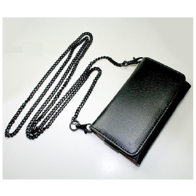 [YS046 ]iPhone5 /5s ケース ポシェット タイプ スマホ ポーチ ロング チェーン付 カード 財布 バッグ 黒 ブラック 革 レザー