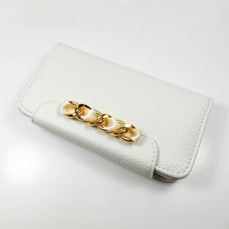 [YS038] iPhone5 /5s ケース リボン & ゴールドチェーン 手帳 タイプ ( ミント / ピンク / ホワイト ) 金 カード 収納 レザー 革 スマホ アイフォン カバー