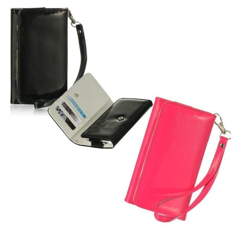 [YS031] iPhone5 /5s ケース エナメル リストレット ( ブラック / ピンク ) スマホ ポーチ かわいい シンプル カード 財布 手帳 便利