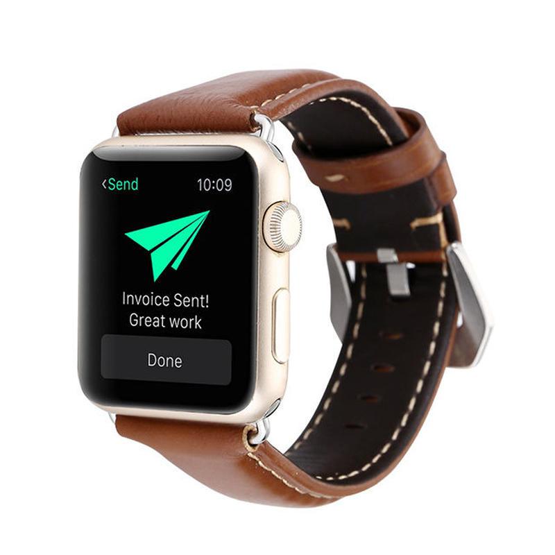 [NW545] ★Apple Watch belt 38mm/42mm ★ 本革 ステッチ 大人 アップルウォッチ 替えベルト バンド  メンズ レディース