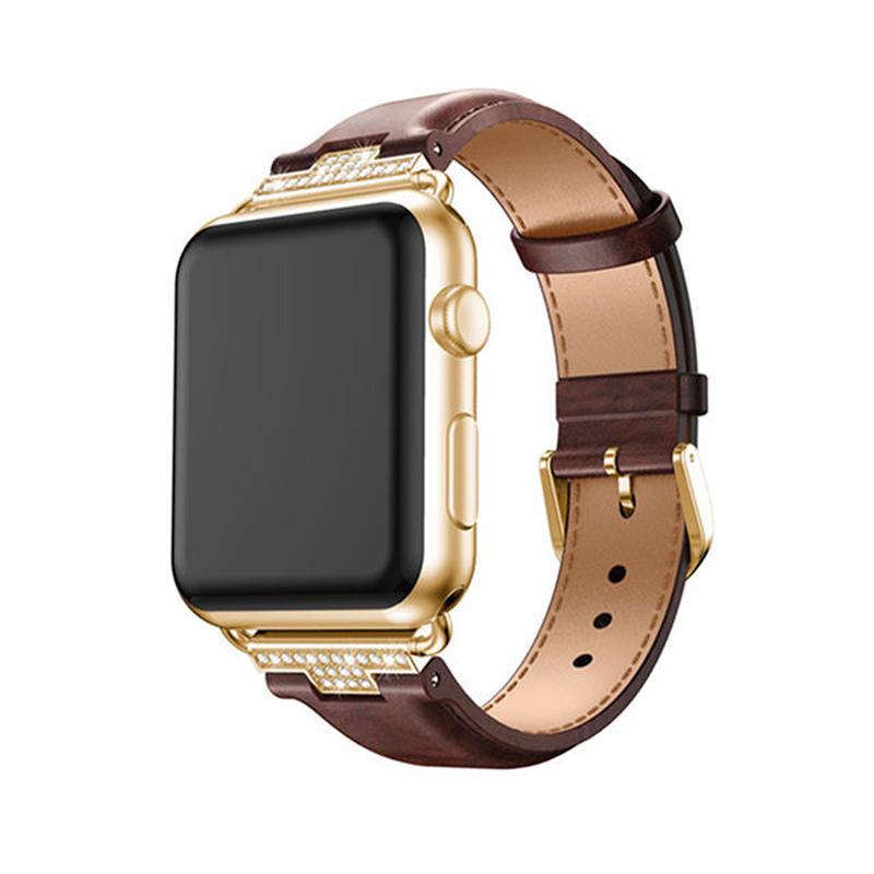 [NW538] ★Apple Watch belt 38mm/42mm ★ 本革 シンプル ラインストーン アップルウォッチ 替えベルト バンド ダークカラー 大人