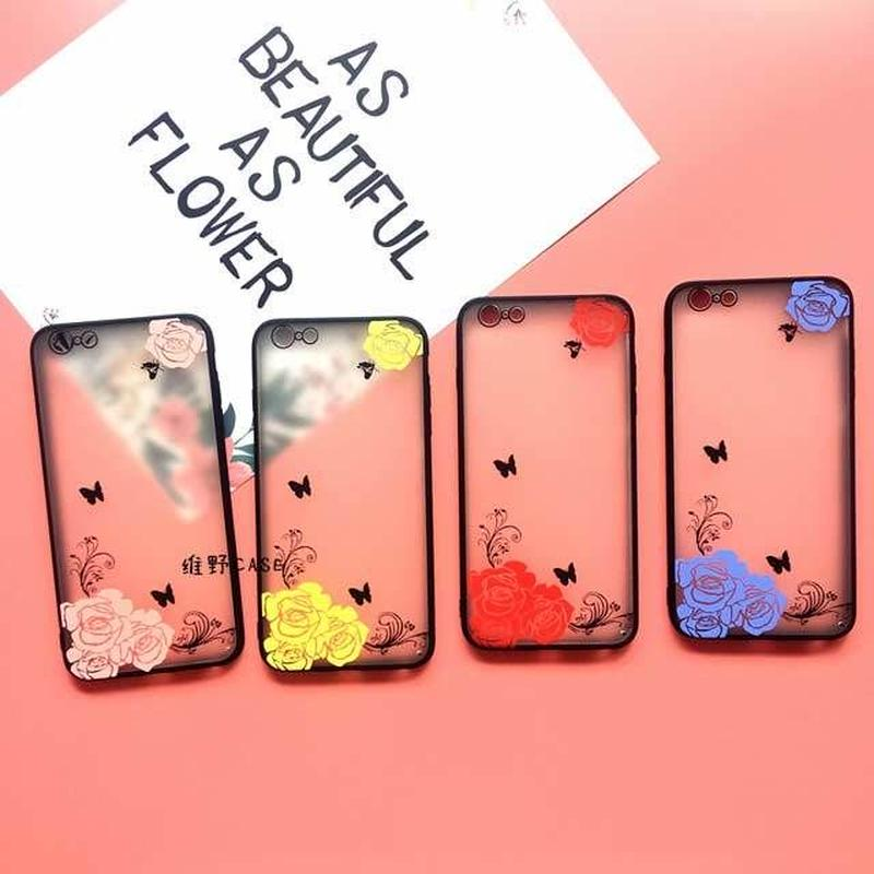 [MD176]  ★ iPhone SE / 5 / 5s / 6 / 6s /6Plus / 6sPlus / 7 / 7Plus / 8 / 8Plus / X ★ シェルカバー ケース バラ 蝶