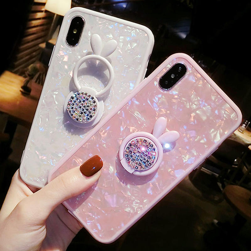 [NW565] ★ iPhone 6 / 6s / 6Plus / 6sPlus / 7 / 7Plus  / 8 / 8Plus / X ★ シェルカバー ケース ウサギ キラキラ リング付き