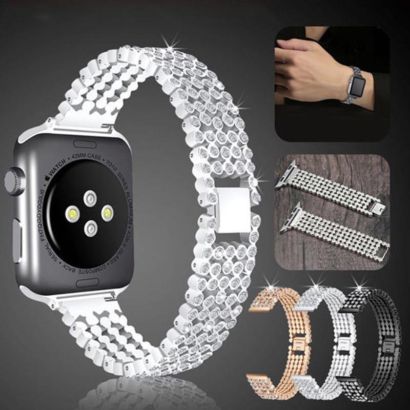 [NW585] ★Apple Watch belt 38mm/42mm ★ アップルウォッチ 替えベルト バンド クリスタル ストーン ステンレス 高級