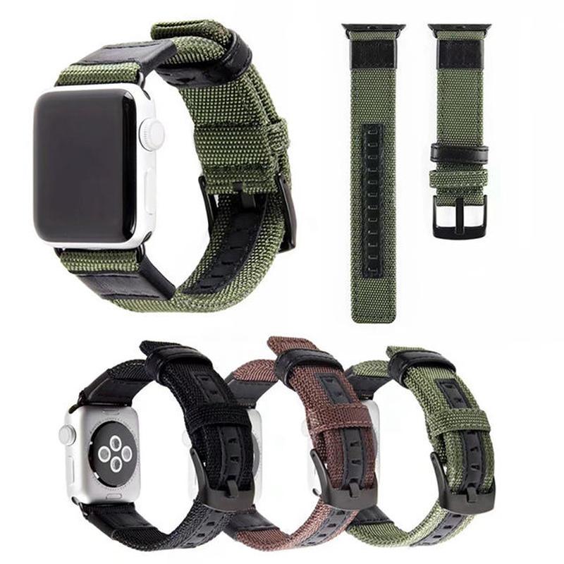 [NW590] ★Apple Watch belt 38mm/42mm ★ アップルウォッチ 替えベルト バンド キャンバス 生地 本革 カジュアル ユニセックス
