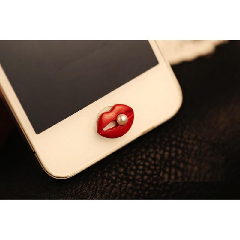 [KK045]iPhone/iPadホームボタン セクシー リップ&パール