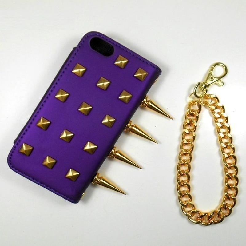 [YS041] iPhone5 /5s ケース ハード スパイク付 ディープ パープル リストレット ゴールドスタッズ チェーン カード 収納 財布 スマホ アイフォン 紫