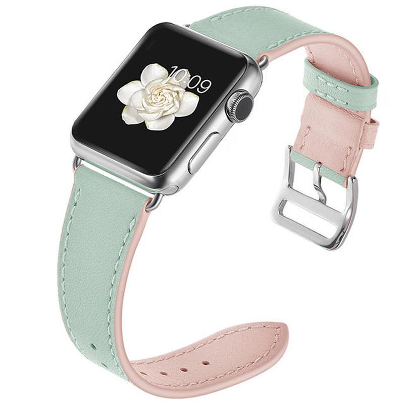 [NW548] ★Apple Watch belt 38mm/42mm ★ パステル 本革 バイカラー アップルウォッチ 替えベルト バンド ゆめかわ マカロン