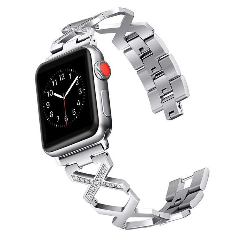 [NW591] ★Apple Watch belt 38mm/42mm ★ アップルウォッチ 替えベルト バンド クロス デザイン X クリスタル ストーン