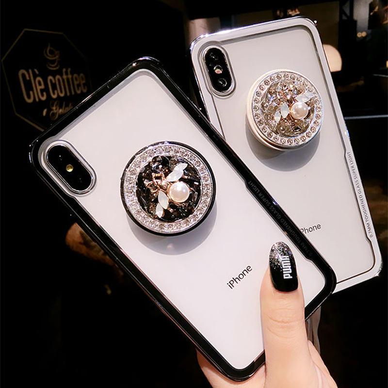 [NW554] ★ iPhone 6 / 6s / 6Plus / 6sPlus / 7 / 7Plus  / 8 / 8Plus / X ★ シェルカバー ケース パール みつばち グリップトック