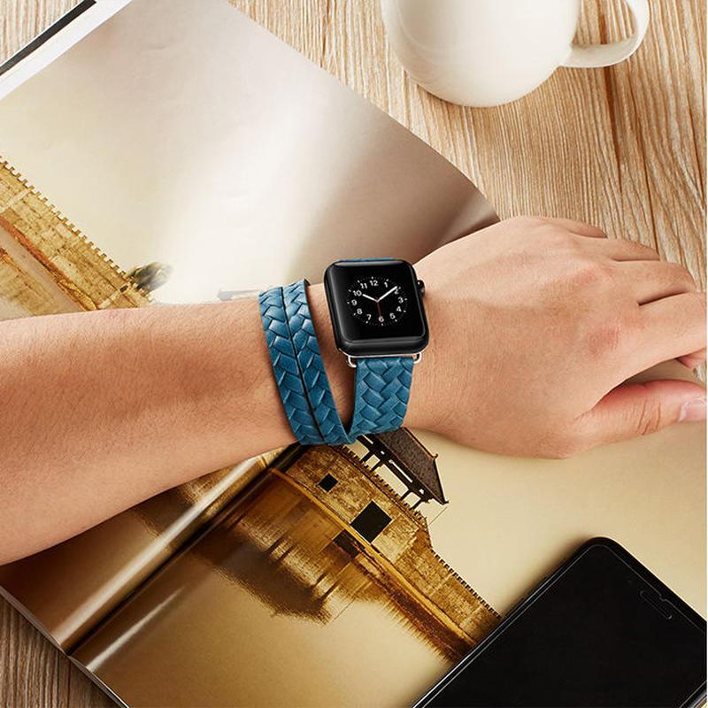 [NW541] ★Apple Watch belt 38mm/42mm ★ ダブルループ 編み込み 本革 アップルウォッチ 替えベルト ブレスレット シンプル