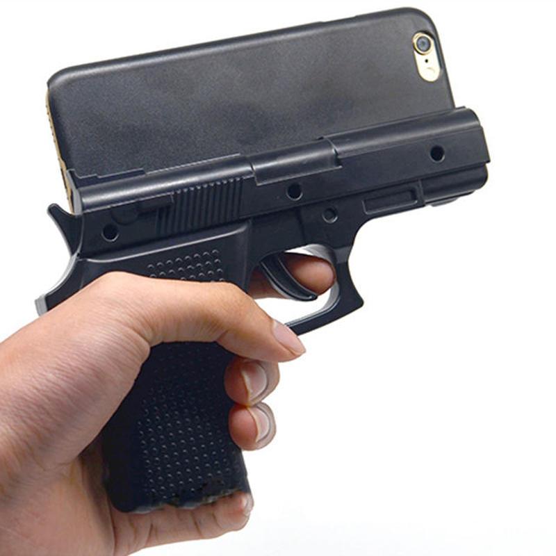 [NW285] ★ iPhone SE / 5 / 5s / 6 / 6s / 6Plus / 6sPlus / 7 / 7Plus / 8 / 8Plus ★ シェルカバー ケース ピストル 拳銃