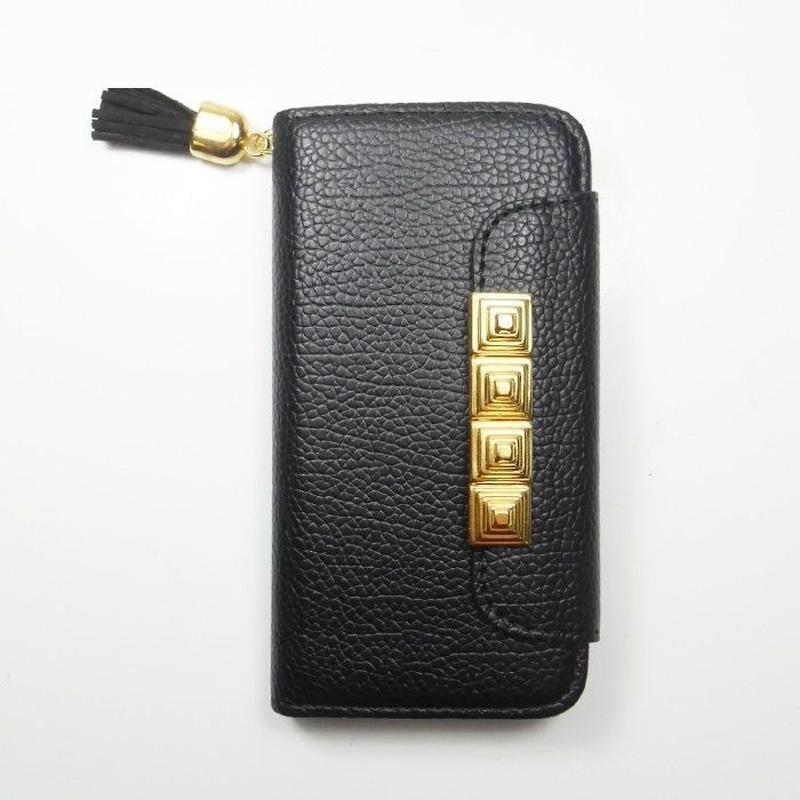 [YS043] iPhone5 /5s ケース タッセル 付 ピラミッド ゴールド スタッズ レザー 革 高級 おしゃれ シンプル カード 収納 スマホ アイフォン 手帳