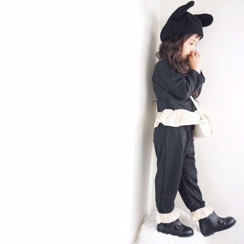 ★岩本様専用☻フリルデザインセットアップ【ブラック120】  レギンス付デニムスカート【インディゴ120】