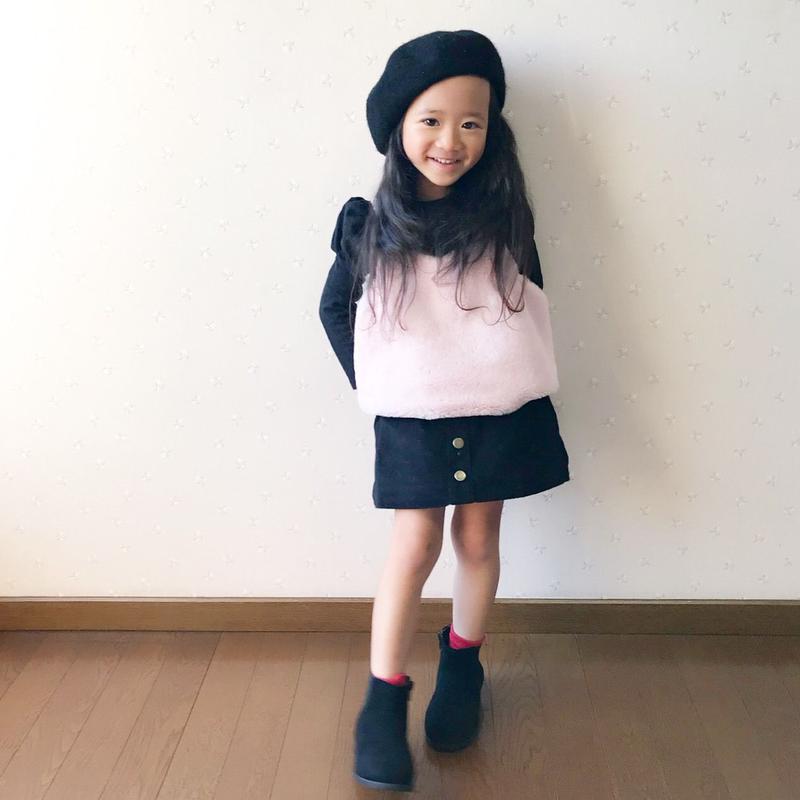 kids☻フロントボタンコーデュロイ裏起毛スカート【ブラック】