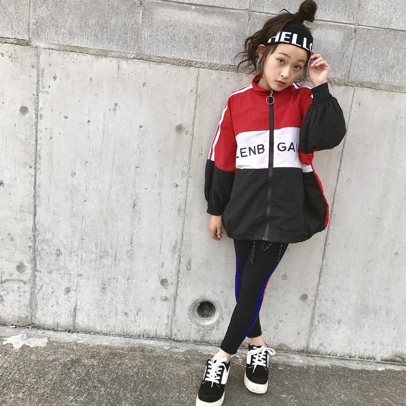 再再入荷♡kidsユニセックス☻フロント英字サイドラインデザイン薄手ジャンパー【レッド】#04
