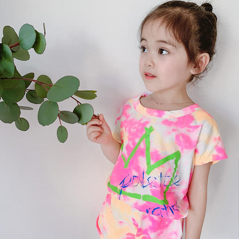 ☺︎kids☆タイダイ柄王冠デザイン英字セットアップ【ピンク】#274