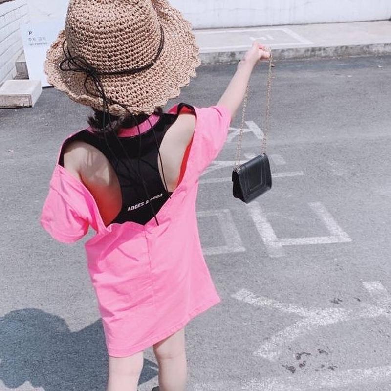 ☺︎kids☻背中開き英字デザインミニ丈ワンピース【ピンク】#207