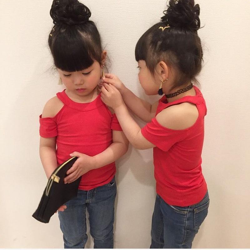 kids★再再入荷☻肩開きシンプルtops 【レッド】