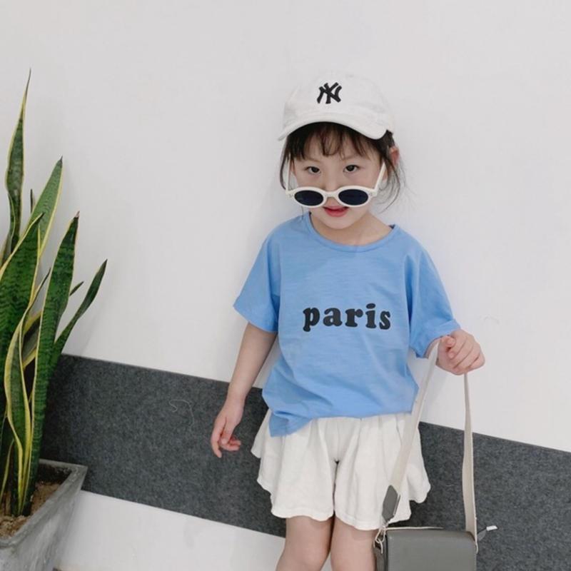 ☺︎kids☻parisロゴプリントデザイン半袖トップス【ブルー】#270