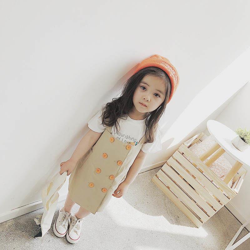 ☺︎kids☻ボタン付シンプルデザインサロペットスカート【ベージュ】#113