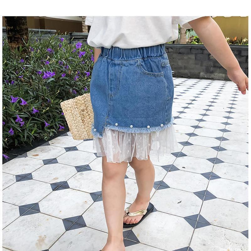 ☺︎kids☻レース切替デザインデニムスカート #123