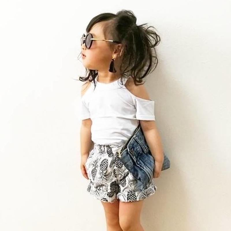 kids★再再入荷☻肩開きシンプルtops 【ホワイト】