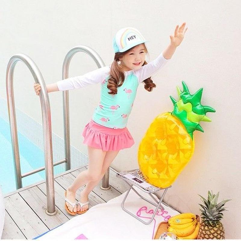 再再入荷☺︎kids【3点セット】フラミンゴ柄ラッシュガード+パンツ+キャップ☆水色