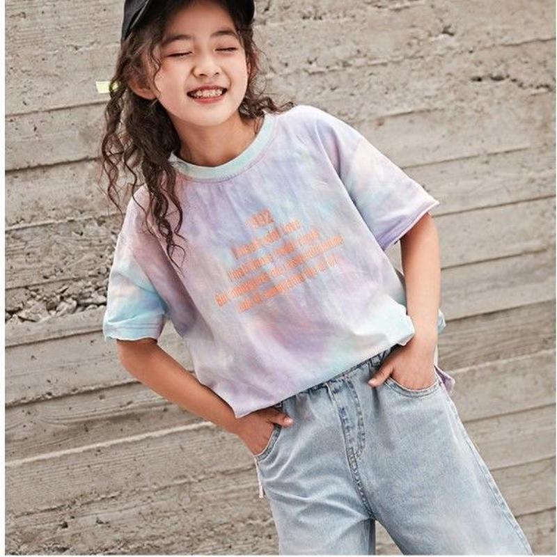 ☺︎kids☆タイダイ柄デザイン英字半袖Tシャツ【パープル】#280