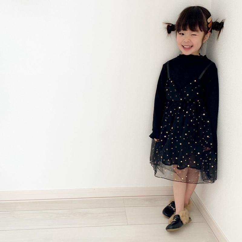 ☺︎kids☻星柄チュールデザインワンピース【ブラック】#55