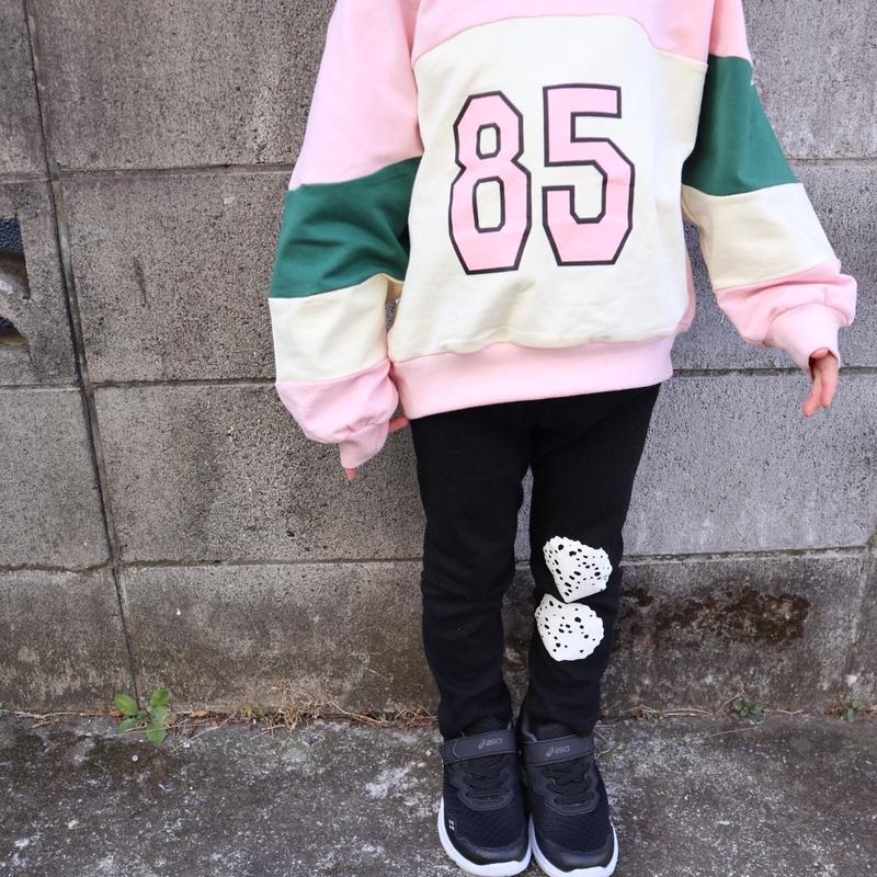 再入荷★kids☻85ナンバープリントパーカー+レギンスセット【ピンク】#150