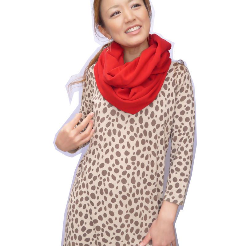 スウェット素材の快適スヌード・maricaBuスヌーディー【lady's厚手タイプ・red】
