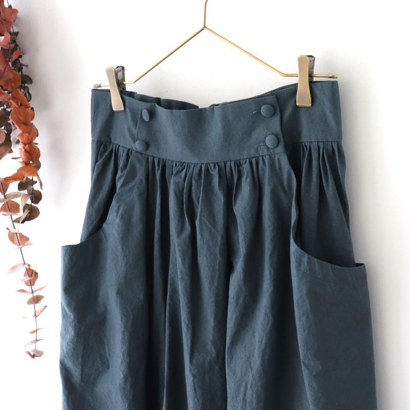 MAGALI マガリ | 硫化染めコットン・ギャザースカート | ディープブルー
