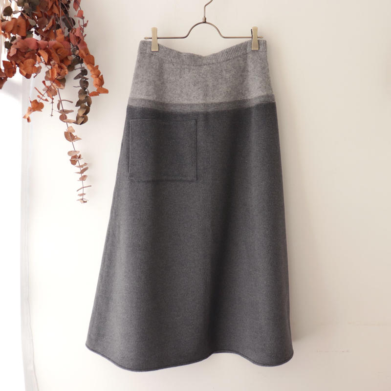 TENNE HANDCRAFTED MODERN テン ハンドクラフテッド モダン | WEAVE AND KNIT  LONG SKIRT | ライトグレー