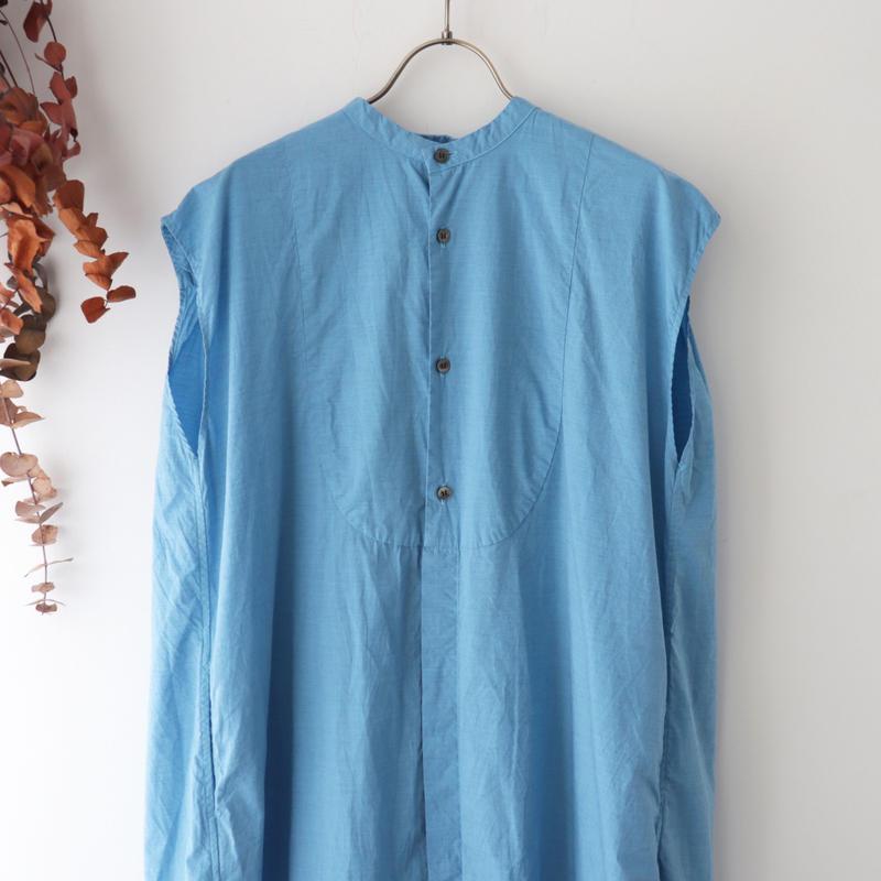 Veritecoeur ヴェリテクール | バンドカラーノースリーブロングシャツ | ブルー