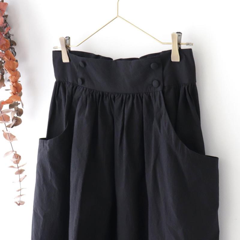 MAGALI マガリ | 硫化染めコットン・ギャザースカート | ブラック