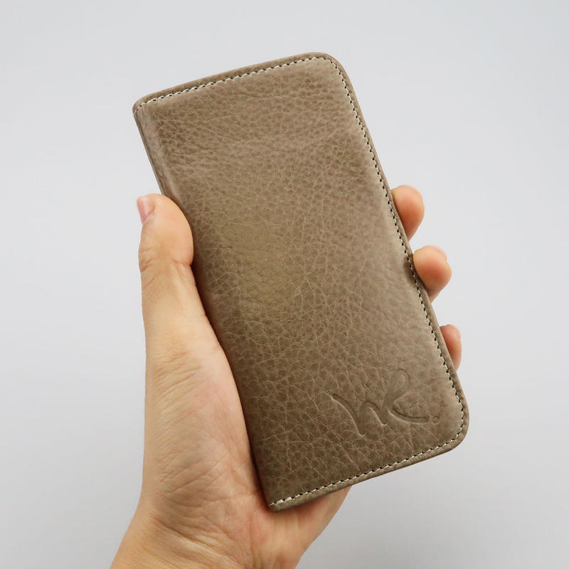 iPhone6,7,8対応ケース 牛革ソフトレザー <L117 グレー&ブラック>