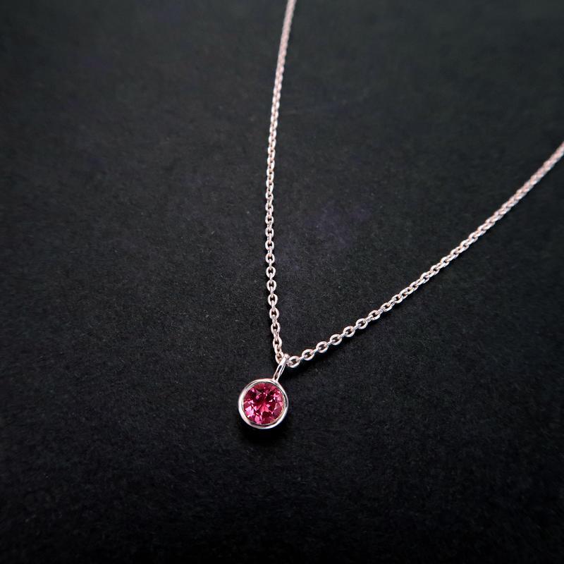 10月誕生石ピンクトルマリンの一粒ネックレス