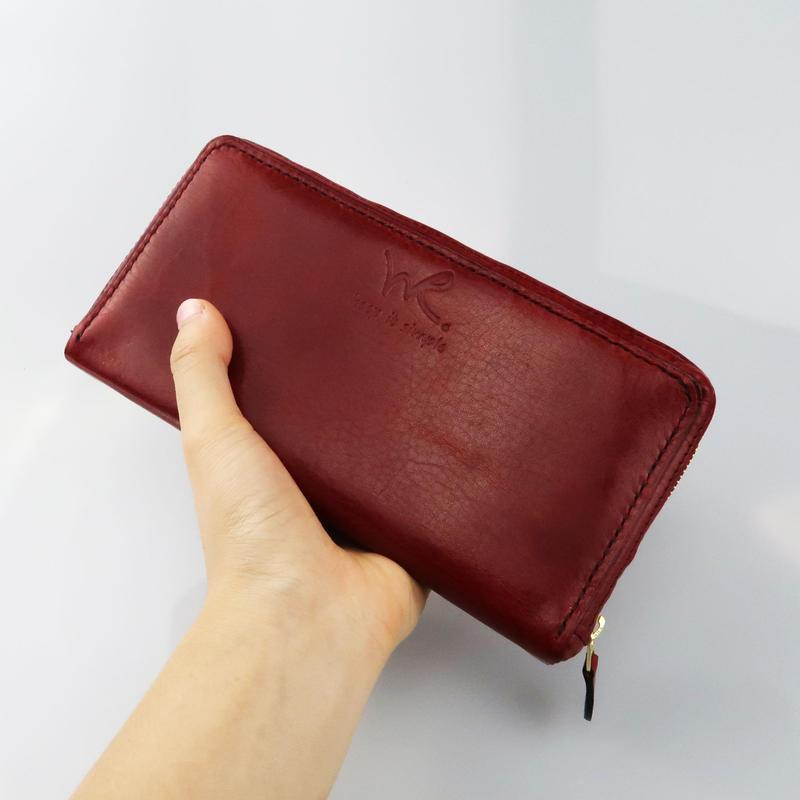 オイルレザーの大きめ長財布
