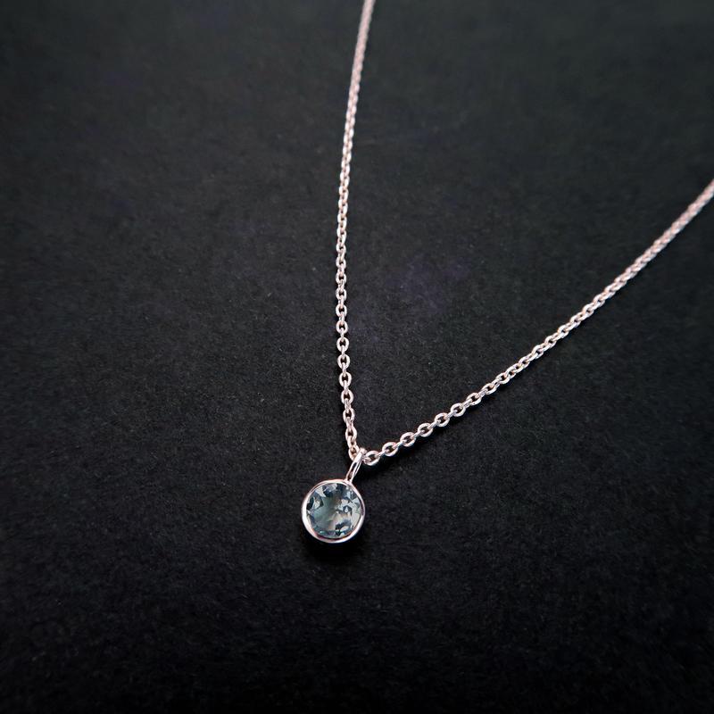 3月誕生石 アクアマリンの一粒ネックレス