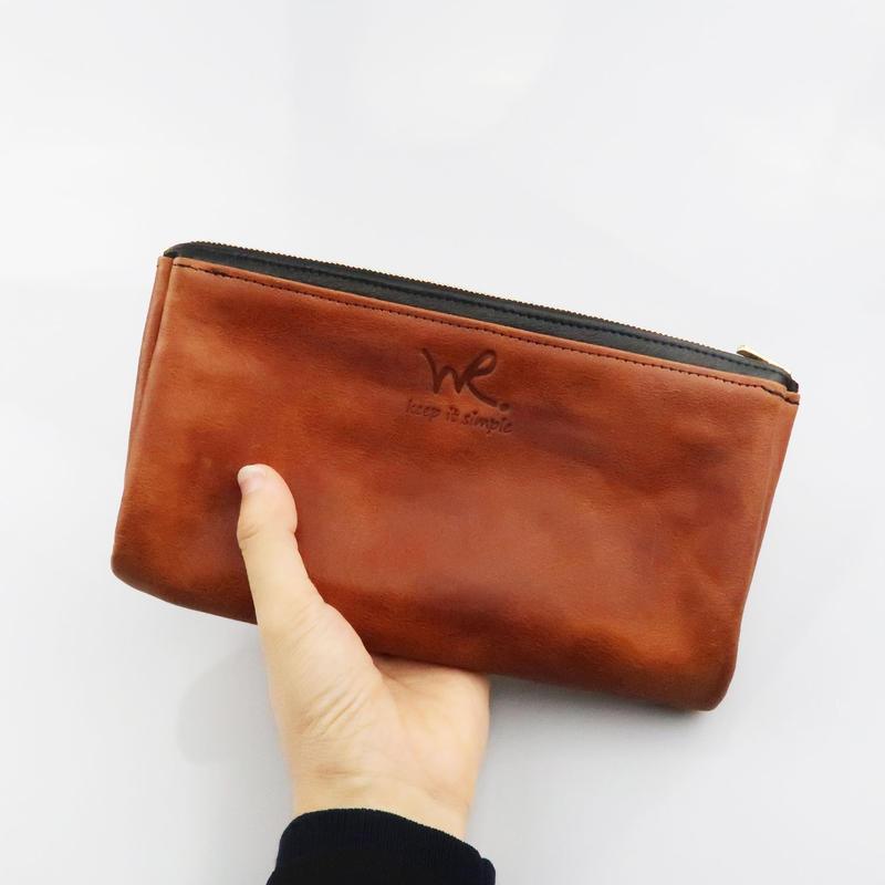 内ポケット付きポーチ/牛革オイルレザー