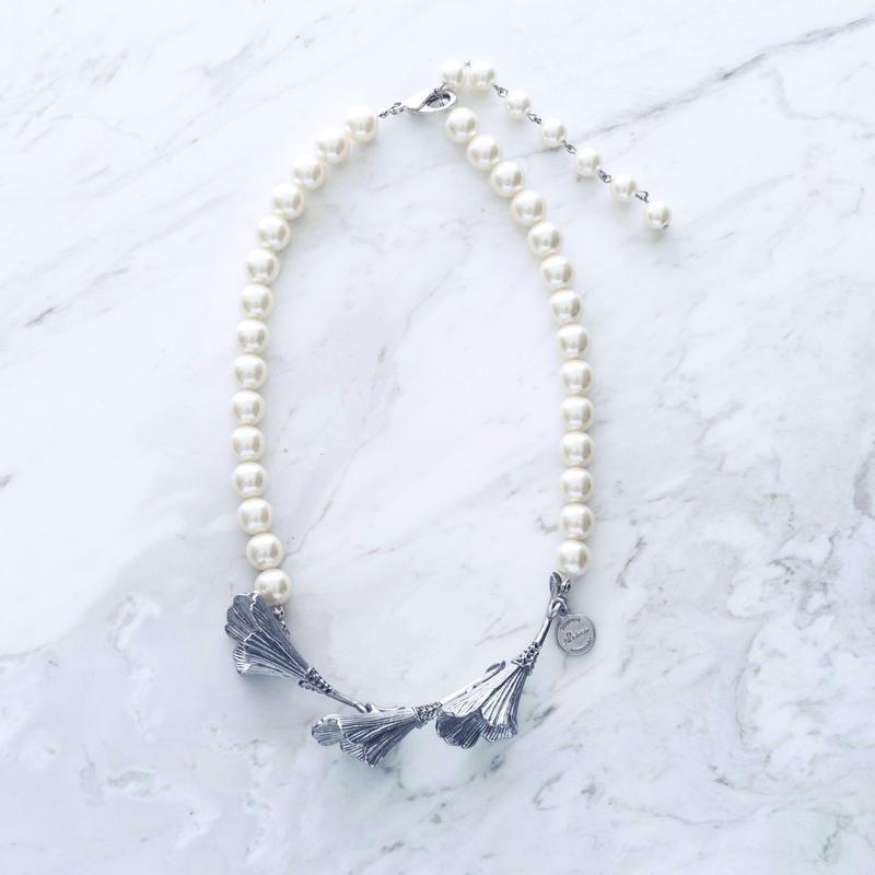 Vintage flower pearl necklace (2WAY)