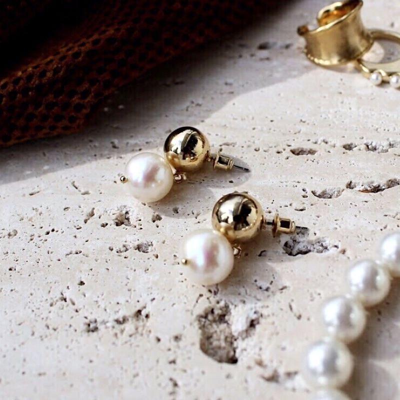 Metal stone pearl pierce (2+2)