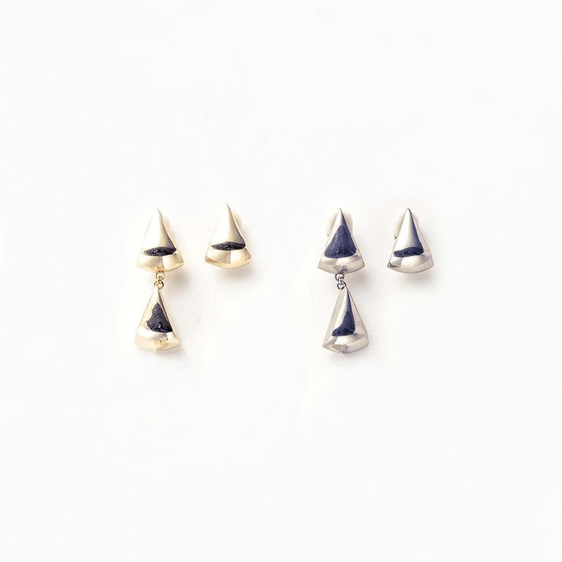 Metal stone long earing (Triangle2+1)