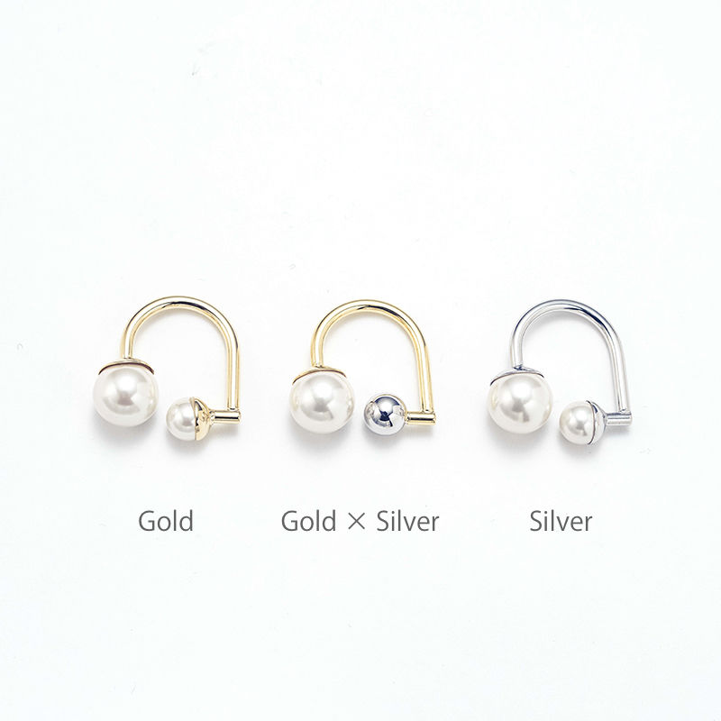 Hook earcuff ring (Pearl)