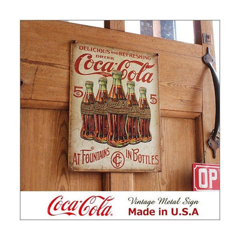 コカ コーラ 5 Bottle Retro メタル サイン ブリキ看板 Made in USA/2091