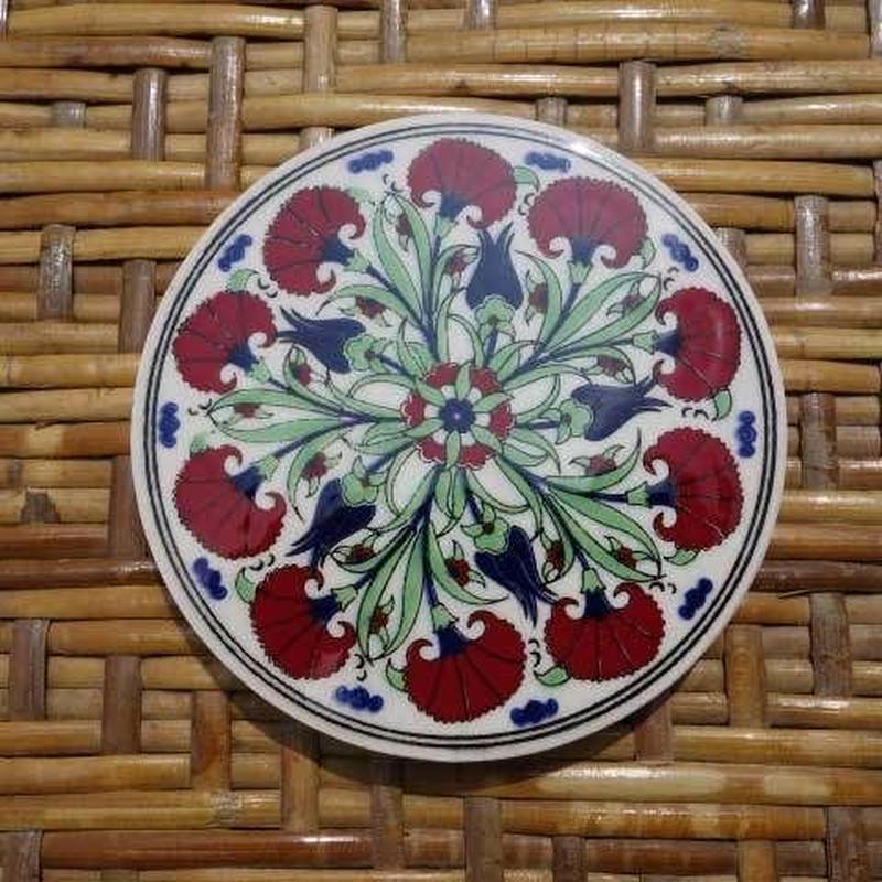 ★tpc-11  繊細なトルコ・プリント陶器コースター(カーネーション)