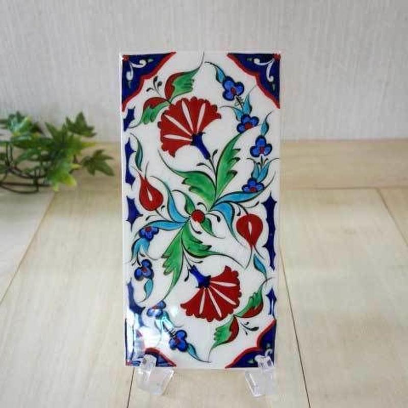 tile-a13  ★トルコ手描きのタイル(トルコの国花カーネーションのデザイン)