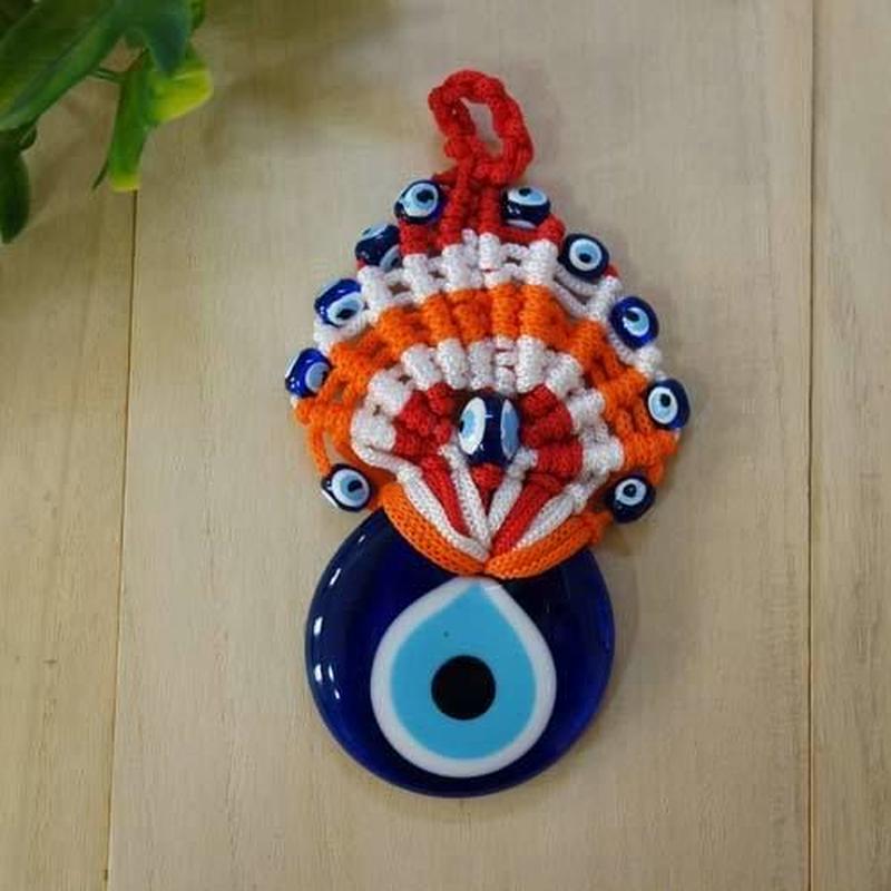 nazat-a105★編込み トルコのお守りナザールボンジュウ  壁飾りSサイズ(ボーダー)