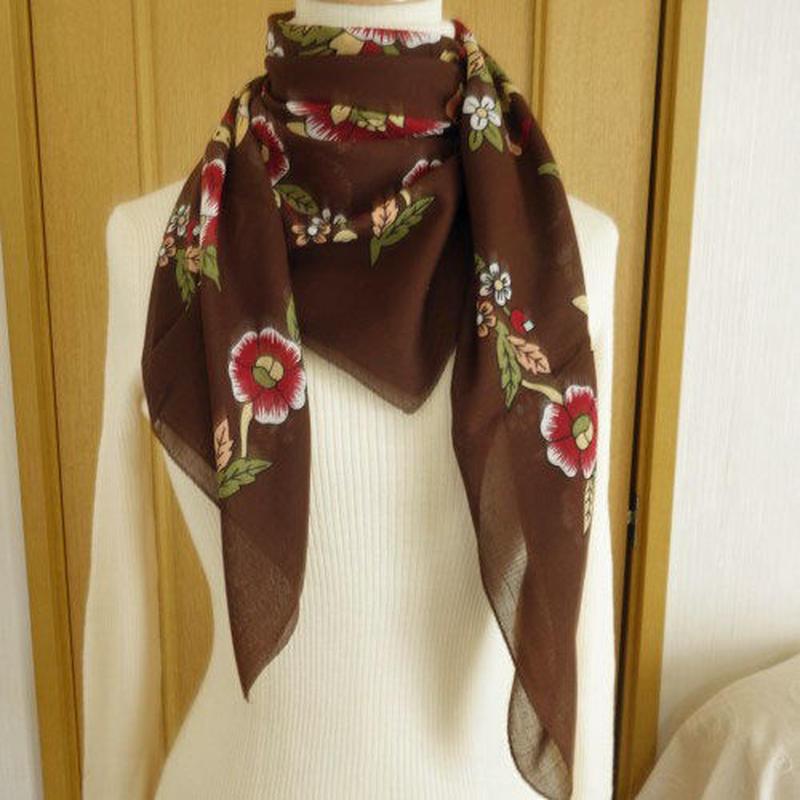 turcl10   繊維の宝庫トルコのふわっと軽いコットンスカーフ(マルーン)L
